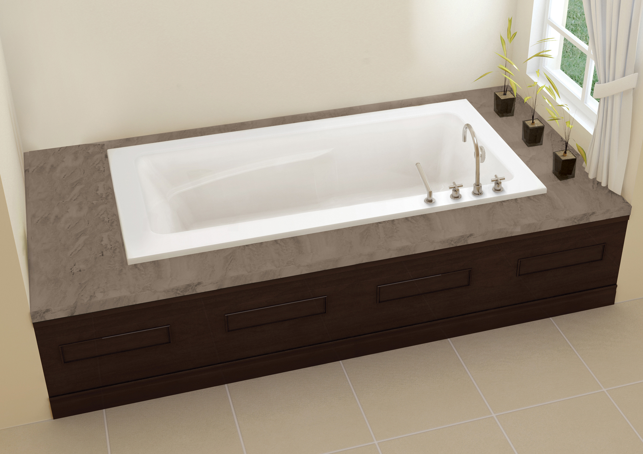 Oceania sublime 66 x 32 x 21 5 alcove soaking bathtub for Alcove bathtub dimensions