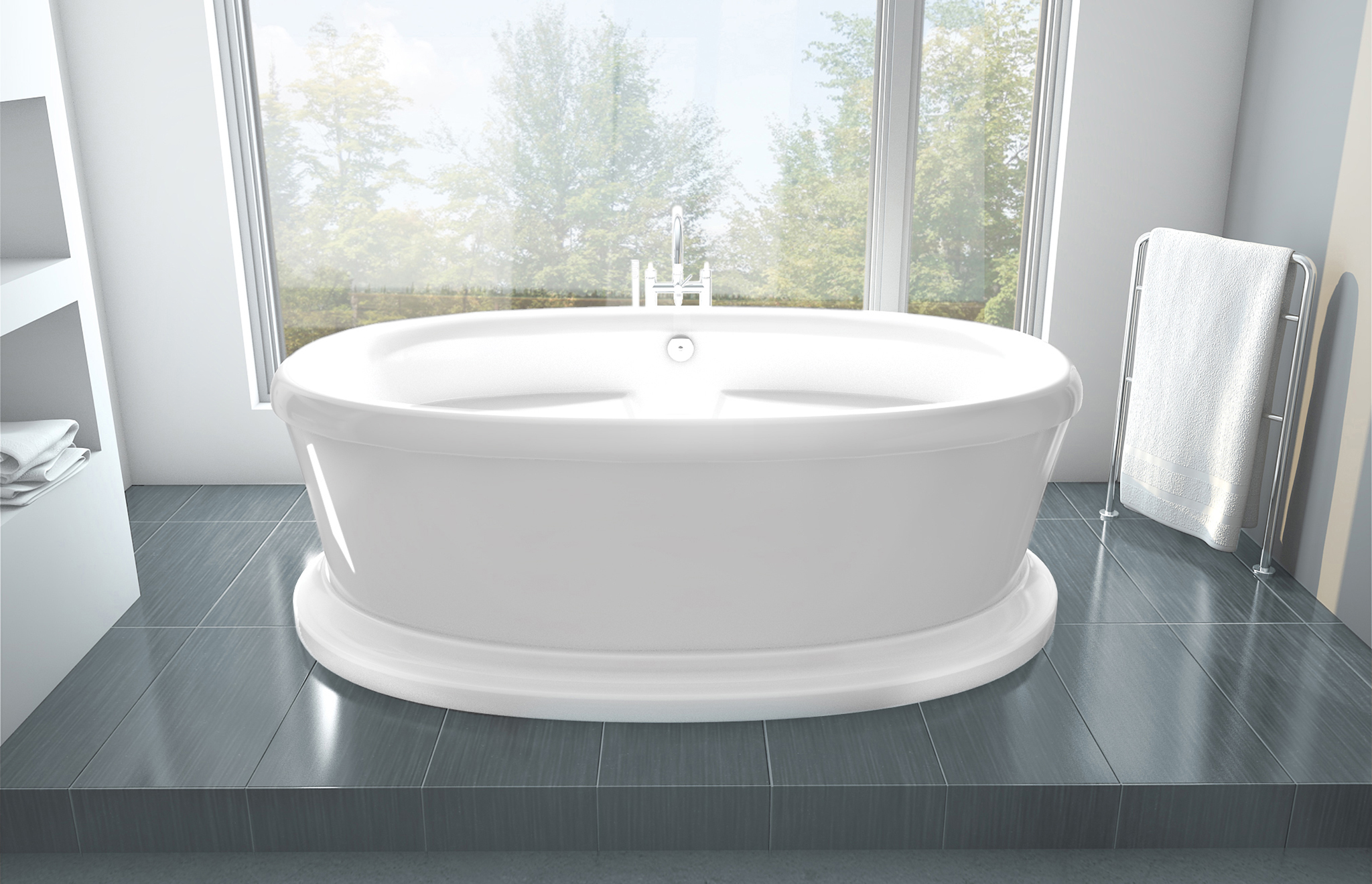 freestanding air jet tub legende pedestal baths oceania
