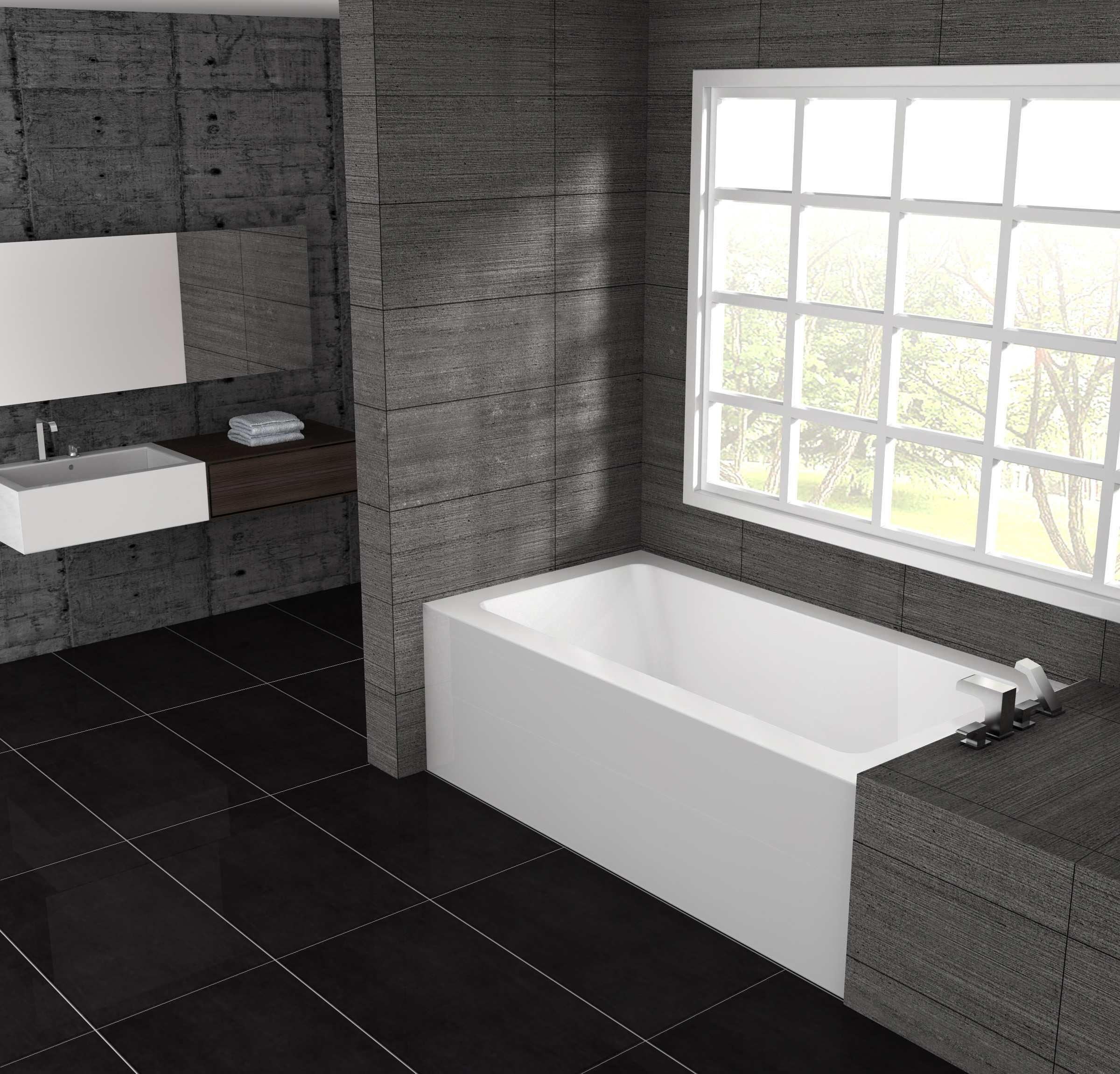 Oceania pure 60 x 32 x 18 alcove soaking bathtub pu60 for Alcove bathtub dimensions